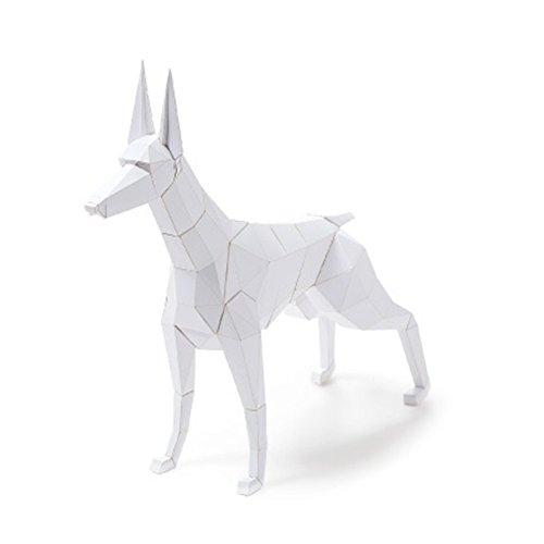 Fingo Puppy Snow Doberman Making 3D Solid Paper Folding Paper Toy Dog DIY Kit Explore Kit Costume Kit White]()
