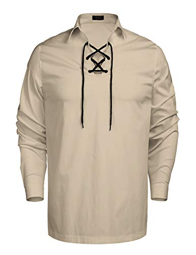 (Coofandy Mens Scottish White Jacobite Ghillie Kilt Shirt (XL, Cream))