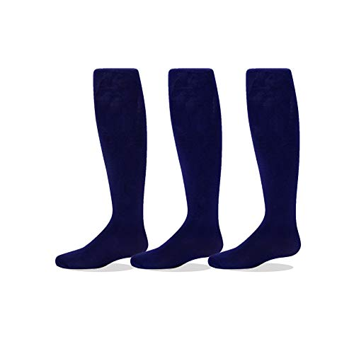 3-Pack Girls Microfiber Tights Navy 6 to 8