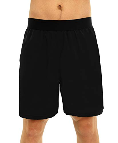 (Super Lightweight Mens Workout Shorts Quick Dry Unlined Athletic Gym Running Pace Shorts for Training (Large, Black) )