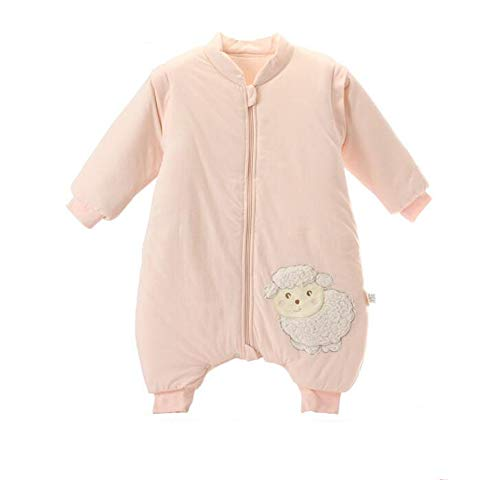 Toddler Baby Unisex Winter Warm Sleepsack Bag Romper Thick Wearable Blanket with Legs(Pink L(82-39.4in))