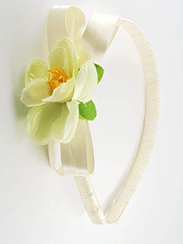 Cerchietto per capelli bambina fatto a mano in nastro di raso e delicato  fiore f55e8eec3a07