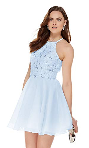(Women's Halter Spaghetti Strap Beaded Chiffon Lace Evening Gown Short Prom Dresses Bady Blue Size 16)