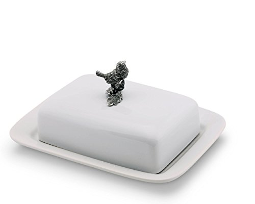 Vagabond House Stoneware Butter Cream Cheese Dish with Pewter Song Bird Knob 8