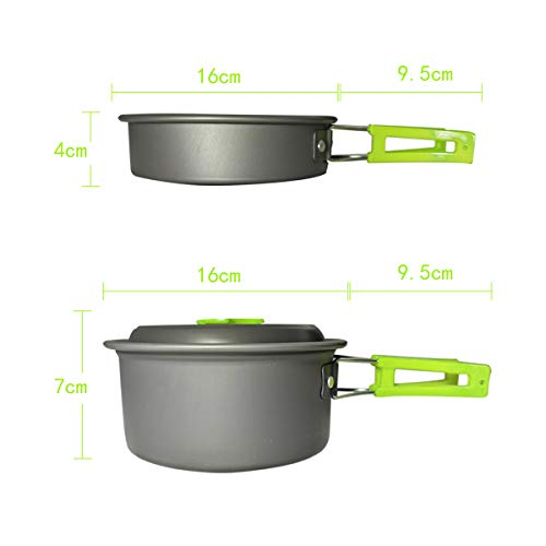 Camping Cookware Kit for 2-4 Person with Camp Stove and Stove Stand – Non-Stick Portable Pots Pans Foldable Stainless…