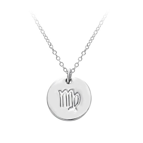 HACOOL 12 Zodiac Sign Tag Constellation S925 Sterling Silver Horoscope Astrology Disc Charm Necklace (Virgo)