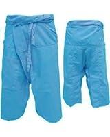 """Thai Fisherman Pants Yoga Pregnancy Pants 3/4 Pants (31"""" long) Light Cotton Pale Blue"""