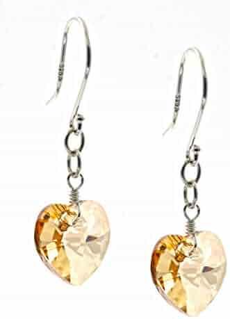 a0125cd65 Sterling Silver Swarovski Elements Aurora Borealis Heart Shape Drop Earrings