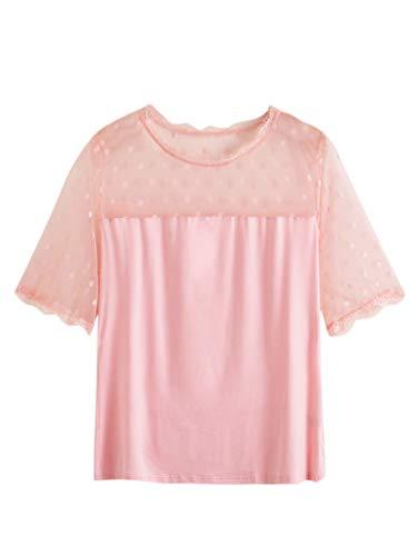 Romwe Women's Plus Size Short Sleeve Sheer Contrast Mesh Polka Dot Slim Blouse Top Pink 2XL