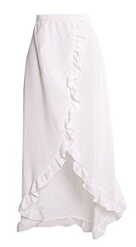 Legendaryman Femme Maxi Jupe de Plage t Fashion Couleur Unie Jupes de Fte Soire Chic C?t Feuille de Lotus Irregulier Jupe avec Fendues Blanc