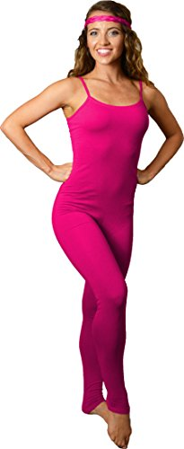Stretch is Comfort Women's Camisole Unitard Dancewear Gymnastics Catsuit Spaghetti Strap Hot Pink (Pink Catsuit)