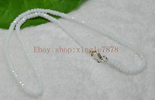 FidgetGear Fine 2x4mm White Jade Faceted Roundel Beads Necklace 28'' Silver Clasp AAA
