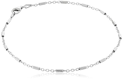 Sterling Silver Italian Diamond Cut Bar Station Anklet, 9