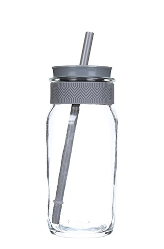 Ello Kella BPA-Free Glass Sipper with Straw, Grey, 20 (Vinyl Drink Holder)