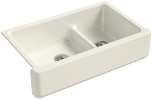 KOHLER K-6427-96 Whitehaven Smart Divide Self-Trimming Under-Mount Apron-Front Double-Bowl Kitchen Sink with Tall Apron, 35-1/2-Inch X 21-9/16-Inch X 9-5/8-Inch, - Kitchen Double Under Mount Sink