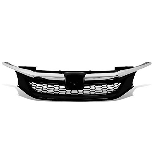 - DNA Motoring GRILL-MK-001-CH Honeycomb Mesh Front Bumper Upper Grill Chrome