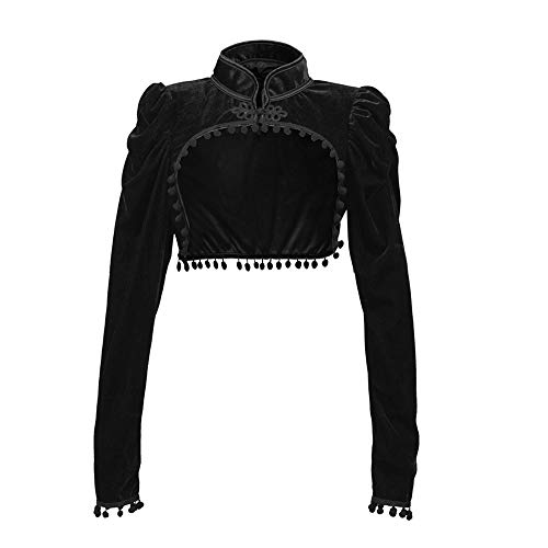 - Women Gothic Velvet Shrug Bolero Vintage Steampunk Long Sleeve Tassel Cardigan Stand Collar Short Coats Black