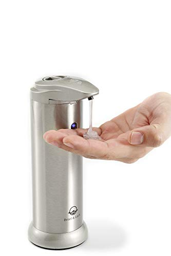 Brief & Lock Touchless Soap Dispenser: New Stainless Steel Automatic with Motion Sensor for Kitchen & Bathroom Sink, Hands Free & Waterproof Base - for Hand Sanitizer & Dish Detergent