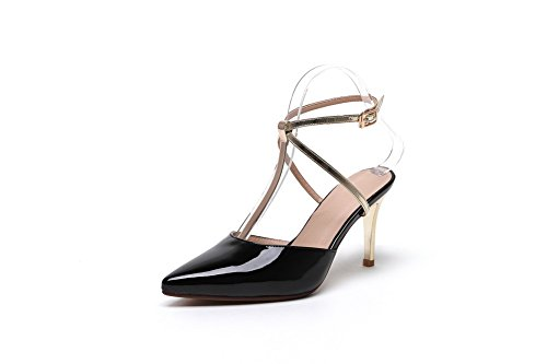 Black Color Sandals AllhqFashion Assorted Blend Spikes Stilettos Toe Materials Closed Women's wvqY1wF