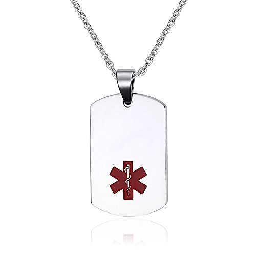 Stainless Steel Medical ID Dog Tag Necklace with Chain -Free Custom Engraving,Diabetic,Asthma