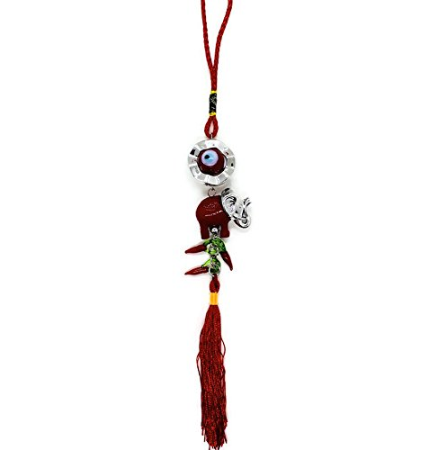 Bravo Team Lucky Blue/Red Evil Eye Hanging Ornament for Protection and Blessing, Elephant Two-Tone & Red Pepper Charms for Strength and Power, Pendant Decoration for Car, Home and Office, Great Gift (Two Tone Glass Ornament)