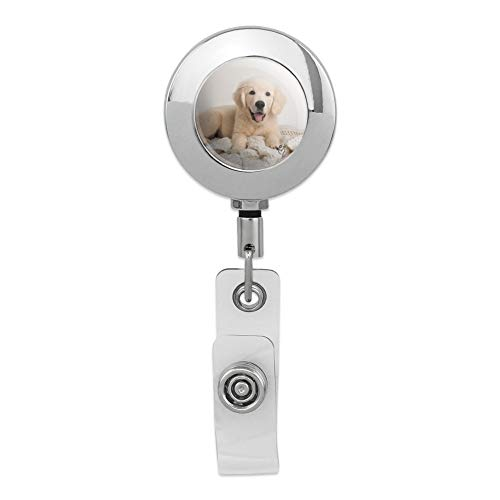 (Golden Retriever Puppy Dog and Blanket Retractable Reel Premium Metal Chrome Badge ID Card Holder Clip)