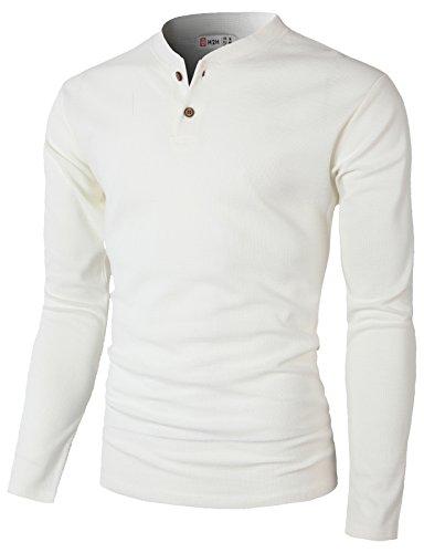 H2H Men's Classic Comfort Soft Regular Fit Short Sleeve Henley T-Shirt Tee White US 2XL/Asia 3XL (CMTTL087)