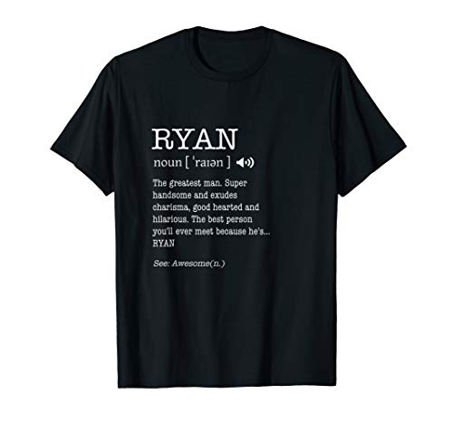 The Name Is Ryan Funny Gift Adult Definition Men's T-Shirt ...
