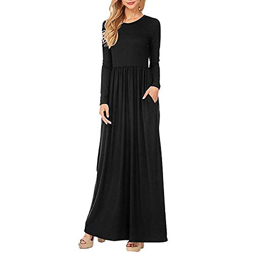 Morecome,2018 Womens Long Sleeve Elasticity Loose Dress Ladies Evening Party Beach Split Long Maxi Dress