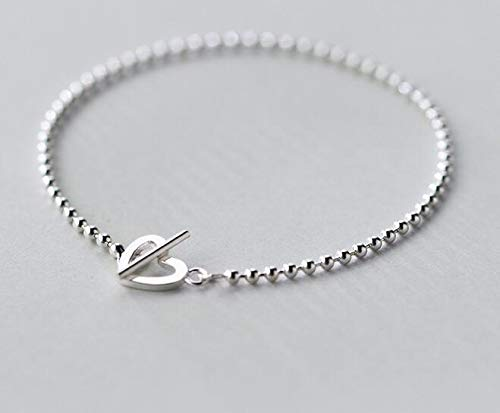 Nitlovely Real. 925 Sterling Silver Lucky Bar &Open Heart Toggle Chain Bracelet Lady's Bohi Charms Adjustable GTLS365