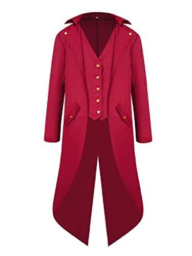 Coda Outwear Parka Di Giacca Turn Uomini Collare Steampunk Rosso A Rondine down Xinheo PCwHvqtc