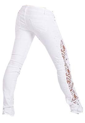 Womens 6234W White Sexy Side Lace Cut Out Skinny Jeans Ladies Size ...