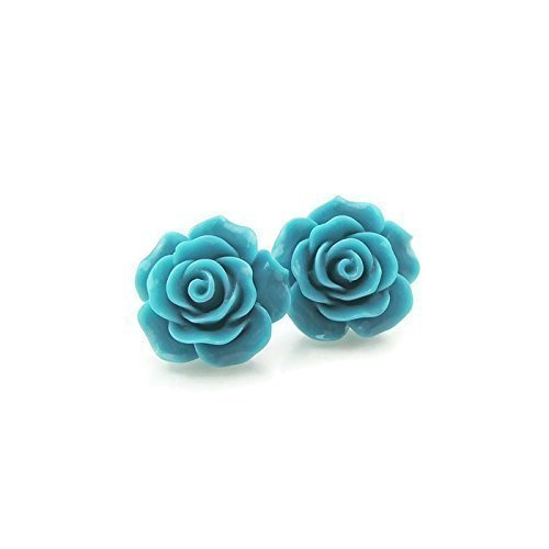 Resin Turquoise Earrings (Large Rose Earrings on Plastic Posts for Metal Sensitive Ears, Dark Aqua)