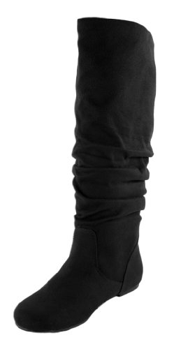 Soda Shoes Zuluu Slouch Boots, Black Suede, 7 (Soda Black Suede Boots compare prices)