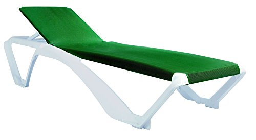 Resol Marina Sun Lounger - White Frame with Green Canvas Material