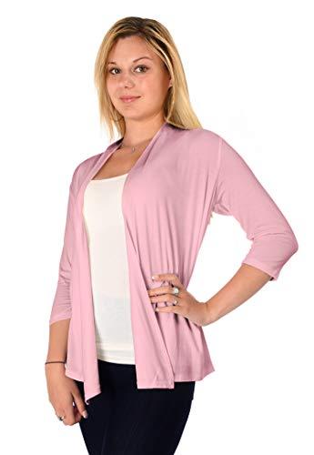 DFF Shop Women's Lightweight Open Drape 3/4 Sleeve Cardigan (Size: S - 5X), 2X, Dust Pink