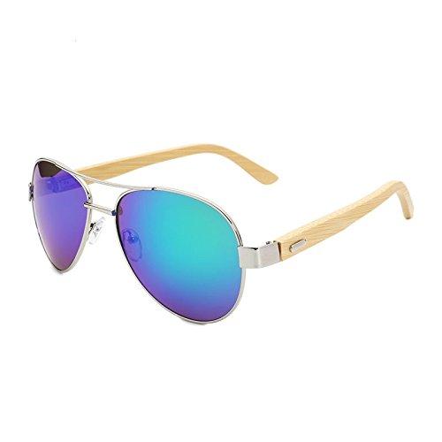 Vintage Gafas Espejo De Coloreado Sol De TIANLIANG04 Vidrio Un Unisex Bambú De Piernas Oval qRp8R1