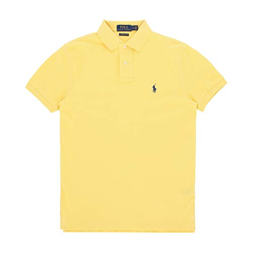 Polo Ralph Lauren Mens Classic Mesh Polo Shirt (XL, Bright Yellow)