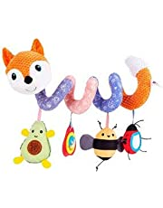 FPVERA Baby Hanging Toys - Infant Car Seat Toys for Toddlers Girls Boys Baby Stroller Toys for Car Seat Crib Mobile Fox Baby Activity Spiral Plush Toys with Music Box BB Squeaker and Rattles