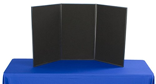 Displays2go Exhibition Display System, 3 Panels, 54 x 30, Black Velcro-Receptive Fabric and White, Write-On Dry Erase Board (3PV5430BLK) (Three Panel Display System)