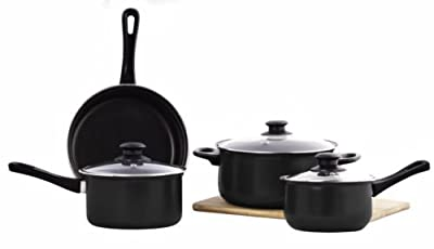 Imperial Home 7 Piece Non-Stick Cookware Set with Glass Lids - Black