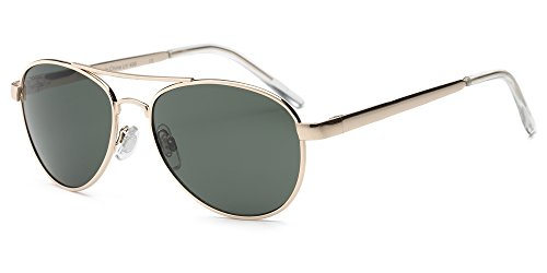 Real Shades Fly Aviator Sunglasses for Adults - 100% UVA UVB Protection, Polycarbonate Lenses, Unbreakable, Spring Hinges, Iconic Style (Gold, Green - Girl Fly Sunglasses