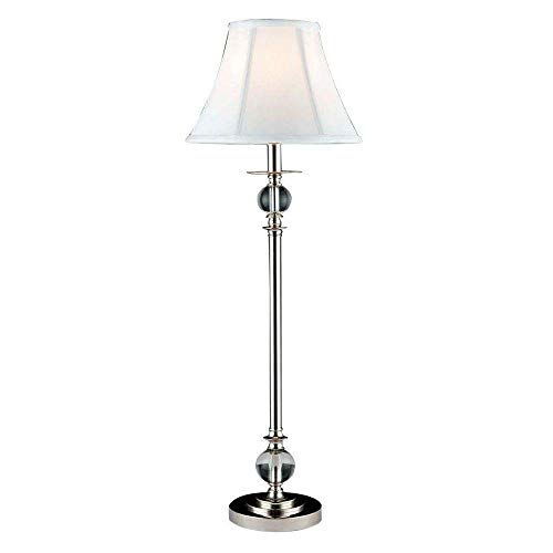 Dale Tiffany GB10196 Crystal Buffet Lamp, Polished Chrome and Fabric Shade