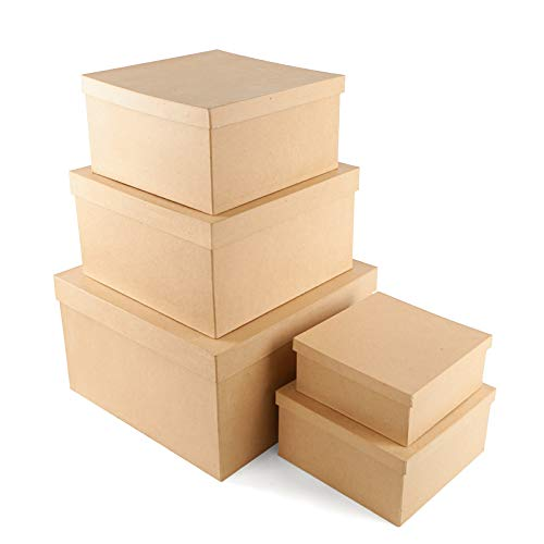Factory Direct Craft Paper Mache Square Hat Box