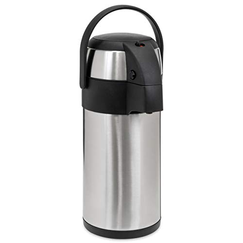 Best Choice Products 3L Stainless Steel On-the-Go Thermal Airpot Dispenser for Coffee, Hot and Cold Beverages w/Safety Lock, Carrying Handle, Push Button, Cup - Silver ()