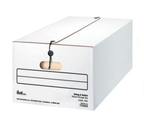 String and Button Basic Duty Storage Boxes; Legal Size, 350lbs Stacking Strength, - Basic Storage Strength Boxes
