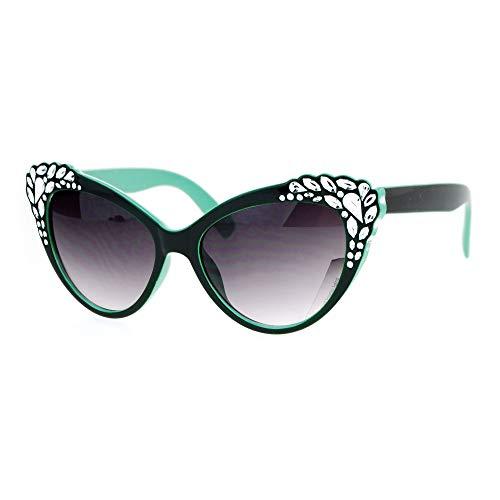 - SA106 Womens Rhinestone Sparkling Bling Cat Eye Fashion Sunglasses Green