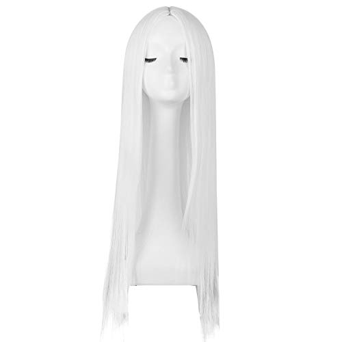 Costume Wig Synthetic Heat Resistant Fiber Long Straight White Hair Halloween Carnival Cosplay Events Women Hair Piece,White,26Inches