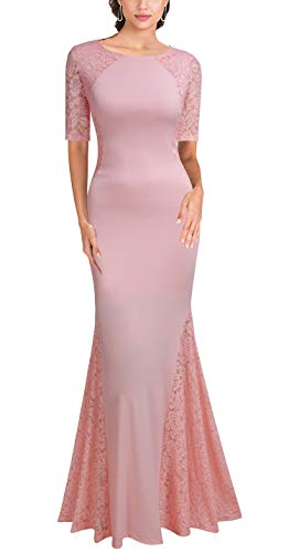 (FORTRIC Women Short Sleeves Lace Side Wedding Party Bridesmaid Long Maxi Dress (Pink, Large))