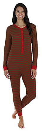 Sleepyheads Women's Thermal Onesie without Feet Red & Green (SH1389-W-4051-2X)